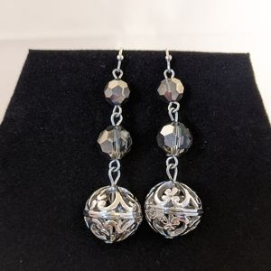 Silver Dangle Earrings Black Crystal and Filigree